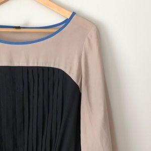 LOFT Black & Tan Colorblock Pleated Blouse